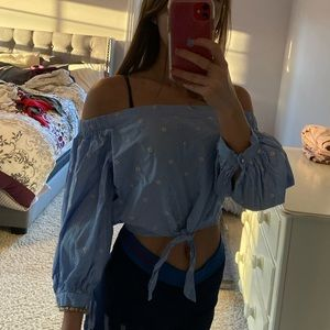 forever21 off the shoulder embroidered crop